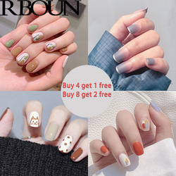 Fake Nails Art Nail Tips Press on False with Designs Set Full Cover Artificial Short Packaging Kiss Display Clear Tipsy Stick
