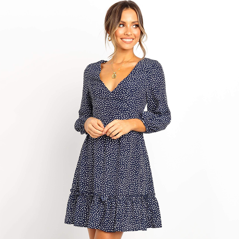Lantern Sleeve Printed Woman Dress Autumn Fashion Ruffles A-Line 3/4 Sleeve Casual Dress Slim V Neck Mini Party Dresses