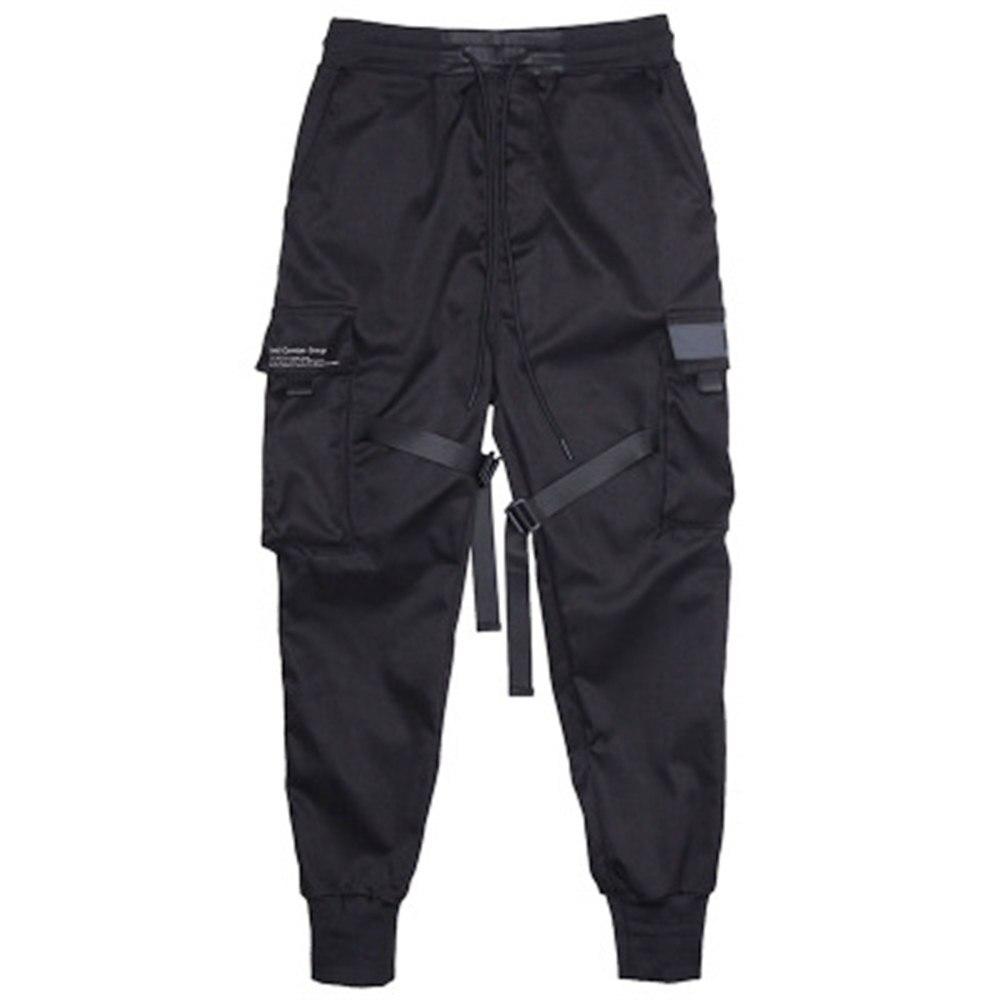 Мужские цветные черные брюки карго с лентами и карманами, шаровары для бега Harajuku, спортивные брюки в стиле хип-хоп, черные брюки для уличных танцев - Цвет: Черный