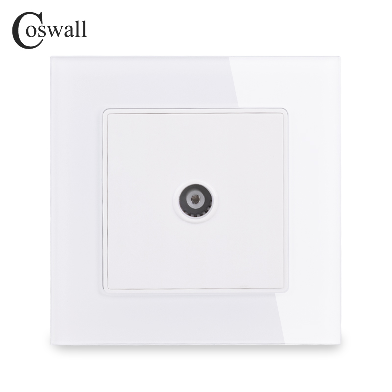 COSWALL Crystal Tempered Glass Frame Wall Socket 1 Gang Female TV Connector Television Port C1 Series White Black Gold