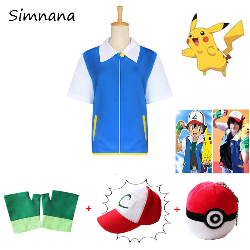 Pokemon Ash Ketchum Cosplay Costume Blue Jacket + Gloves + Hat+Balls Pocket Monster Ash Ketchum Costumes Anime Cosplay Props