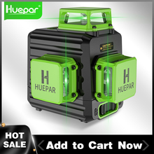 Huepar 12 Lines 3D Green Laser Level Horizontal And Vertical Cross Lines Auto Self-Leveling
