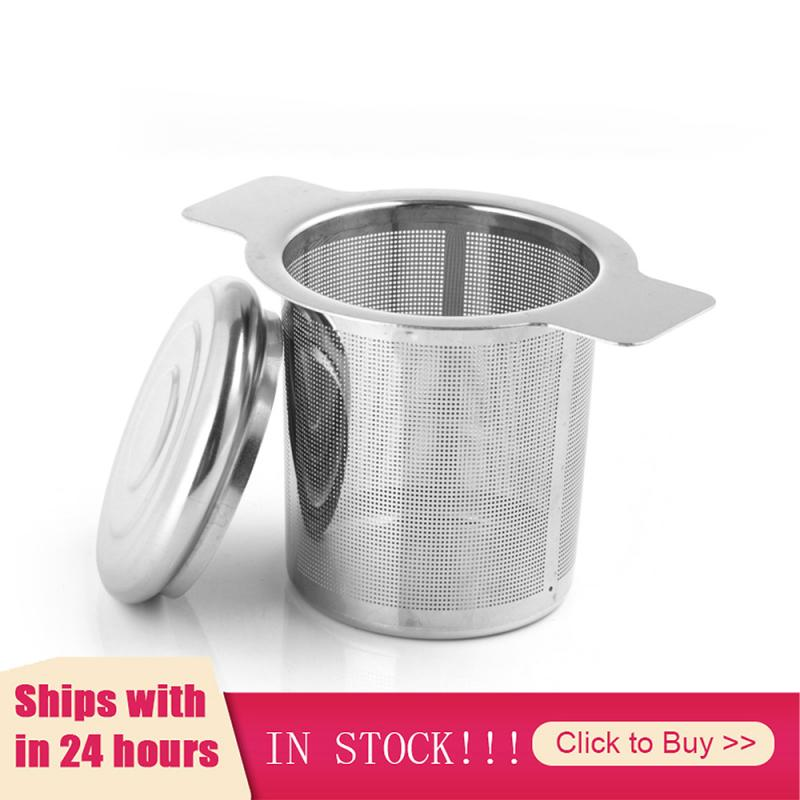 Double Handles Tea Infuser With Lid 304 Stainless Steel Fine Mesh Coffee Filter Teapot Cup Hanging Loose Leaf Tea Strainer