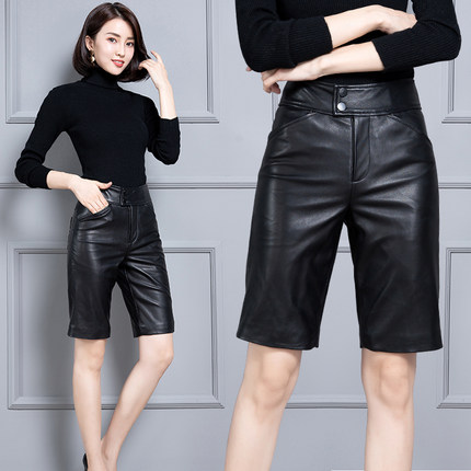 2020 Women New Real Genuine Sheep Leather Shorts KS61