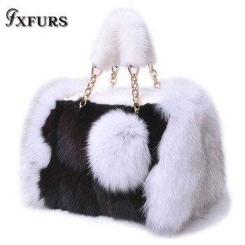 2020 New Fox Fur Handbags Real Mink Fur Bags with Fox Fur Balls Single Shoulder Bags Winter Warm Luxury Zipper Chain Fur Bags new 2019 real fox fur handbag 100