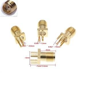 "Image 1 - 100Pcs זהב SMA שקע נקבת PCB הלחמת קליפ קצה הר RF מתאם מחבר 0.062 או 0.048"" 0.031"""