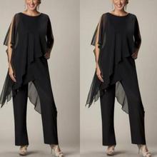 Dresses Weddings Pants Groom Chiffon Long Black Sheath Floor-Length with Suit for Scoop
