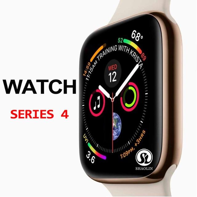 ساعة يد ذكية من سلسلة 4 مزودة بخصم 50% ساعة يد ذكية لهواتف أبل 5 6 7 آيفون أندرويد هاتف ذكي مزود بمراقب لنبضات القلب (زر أحمر)