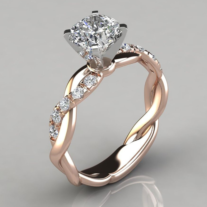 10K Rose Gold White 1 Carat FL Diamond Ring for Female Silver Color 925 Jewelry Bizuteria Gemstone 10K Gold Jewelry Diamond Ring
