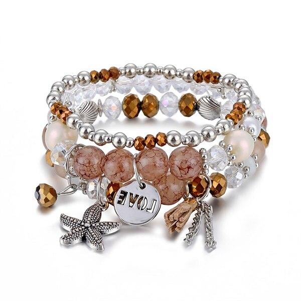 Классический Набор браслетов «Древо жизни» для женщин, многослойный винтажный браслет из натурального камня в виде листьев, браслеты и браслеты, ювелирные изделия, подарки - Окраска металла: 6581