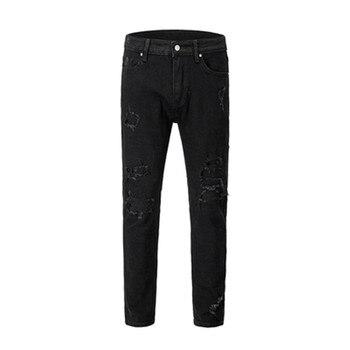 Men Jeans Denim Hole Vintage Black High Street Slim Pencil Pants Elastic Outdoor Slimple HIP HOP Punk Streetwear