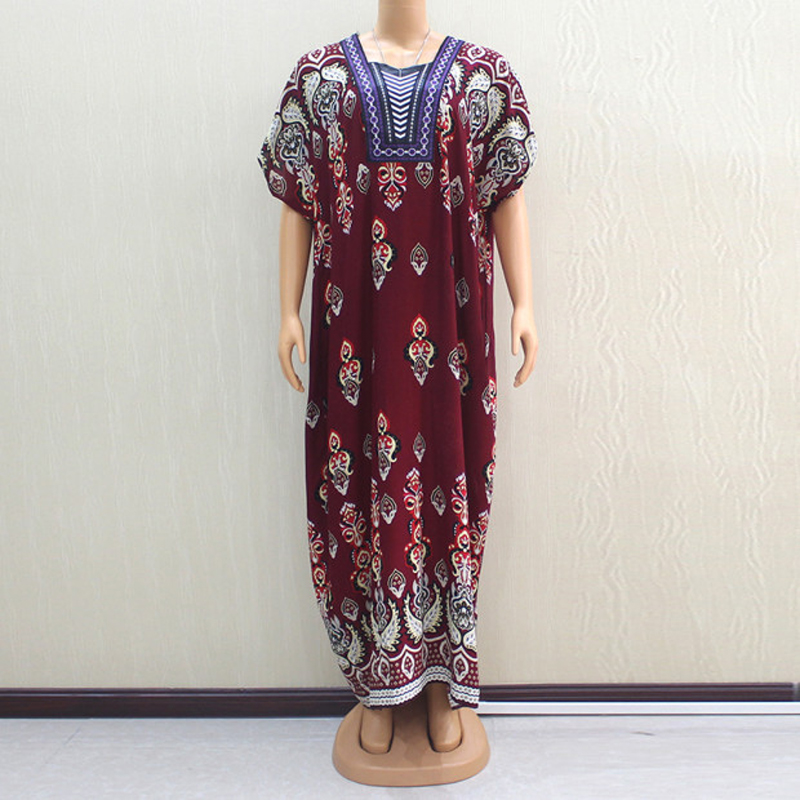 2019 Autumn Newest African Embroidery Dashiki Dress Lady Bat-wing Cotton Long Dresses With Scarf