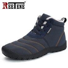 REETENE Super ciepłe męskie zimowe buty dla mężczyzn ciepłe futro wodoodporne kalosze buty pluszowe męskie kostki śniegowce Botas Masculina