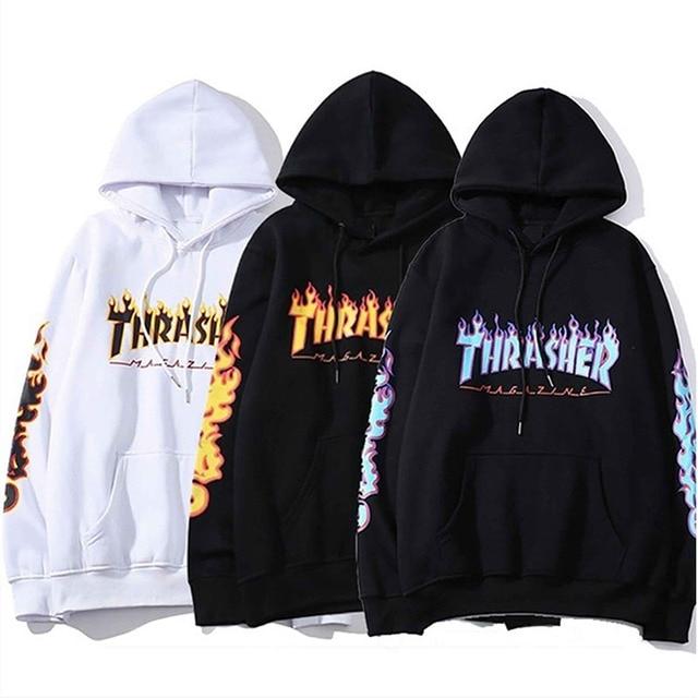 Men Women's Casual Hoodies Fashion Long Sleeve Flame Printed Couple Hoodies Sweatshirts S-4Xl 1
