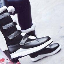 цена Women Mid Calf Boots Plus Size 43 Hook Loop Warm Snow Boots Woman Fur Patchwork Platform Boots Women Rubber Winter Shoes Solid онлайн в 2017 году