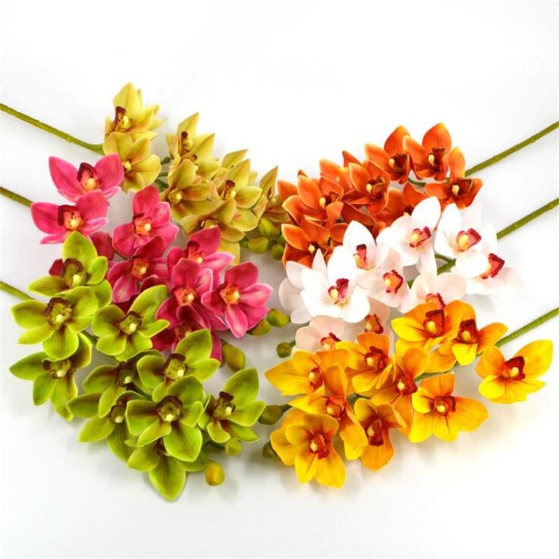 7 Uds buena calidad chino orquídea Cymbidium 10 cabezas artificiales reales orquídeas para centros de mesa boda flores decorativas PEANDIM candelabros centros de mesa para bodas mesa de centro candelabros partes decoración K9 candelabro de cristal de oro de vela