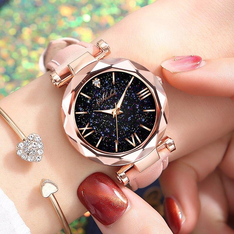 Women Casual Leather Ladies Bracelet Watch Quartz Wrist Watch Starry Sky Female Clock reloj mujer relogio feminino