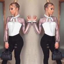 New 2019 sexy Bodysuit Women Sexy bow Mock collar Long SleeveTransparent tops Ladies solid Body Tops overalls