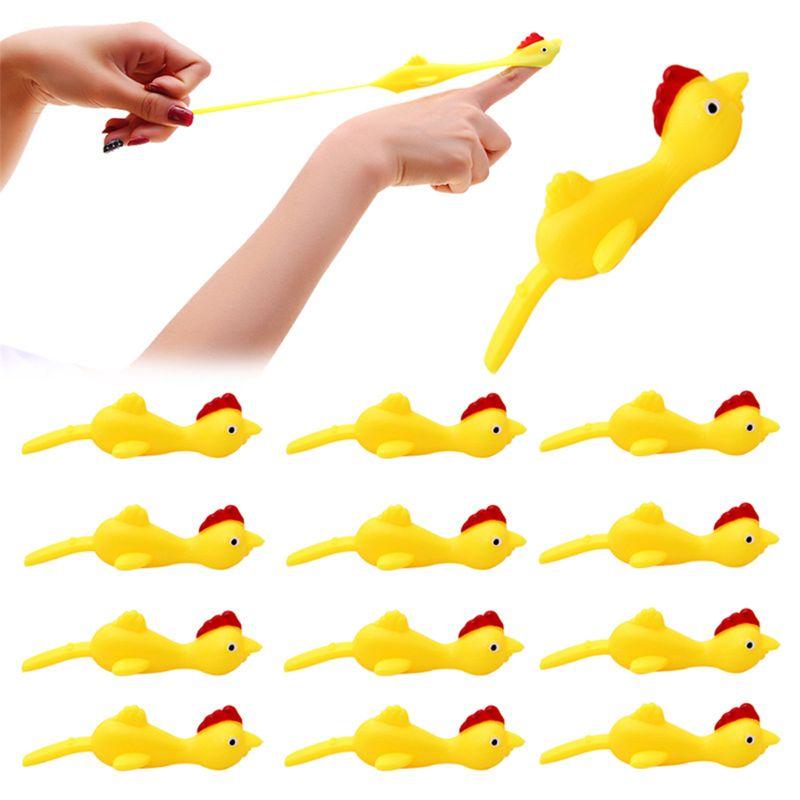 3PCS Finger Birds Fun Novelty Toys Funny Joke Rubber Chicken Stretchy Flying Turkey Party Favors NEW