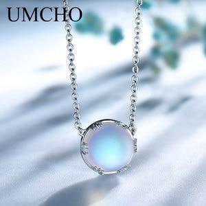 Image 1 - UMCHO s925 Silber Aurora Anhänger Halskette Halo Kristall Edelstein Maßstab Licht Halskette für Frauen Elegante Schmuck Geschenk