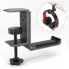 Desk-Mount-Stand Headset Hanger Clamp-Supports Vertical-Installation Universal with Foldable