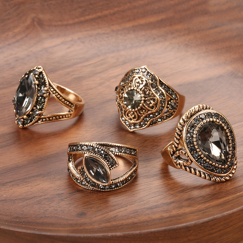 Kinel Vintage Geometric regular Rings For Women Boho Gray Crystal Rings Classic Ethnic Wedding Jewelry Smooth Loop Party Gifts