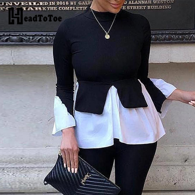 Layered Contrast Long Sleeve Tops Women Autumn Patchwork Casual Blouse Tops