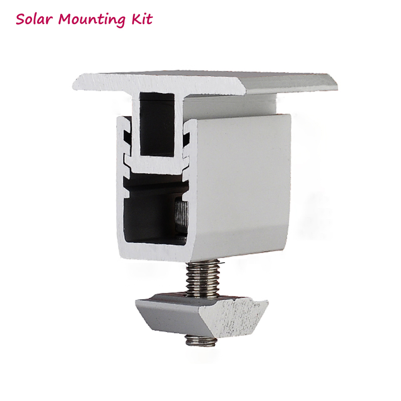 Solar Panel Mounting Bracket- Kit - Accessories Aluminum Adjustable Mid Clamp For Diy Solar Panel Installtion On Rooftop House
