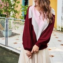Fall Women Burgundy Knitted Pullovers Patchwork Loose Casual Sweater Lantern Sleeve O-Neck Long Sleeve Sweater