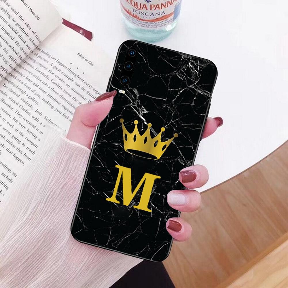 Nome monograma preto mármore ouro coroa telefone para huawei p9 10 lite p20 pro lite p30 pro lite mate 20 pro lite