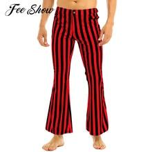 Мужские 60s 70s ретро Винтаж со средней талией, длинные штаны клубная одежда в полоску с принтом Стрейч Клеш Для Девочек Супер расклешенные длинные штаны брюки для девочек