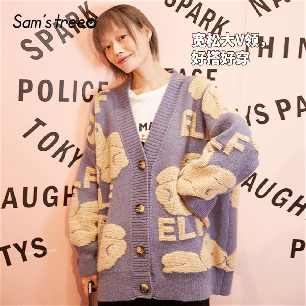 SAM'S TREE Black Character Print Soft Knit Women Cardigan Sweater 2020 Spring Red Single Button Long Sleeve Casual Ladies Tops