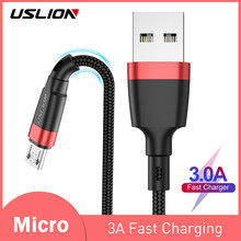 USLION 1m 2m Micro USB Cable 3A Fast Charger For Xiaomi Redmi 4X Note 5a Fast Charger Microusb Data Cable For Samsung S7 Edge J7(China)