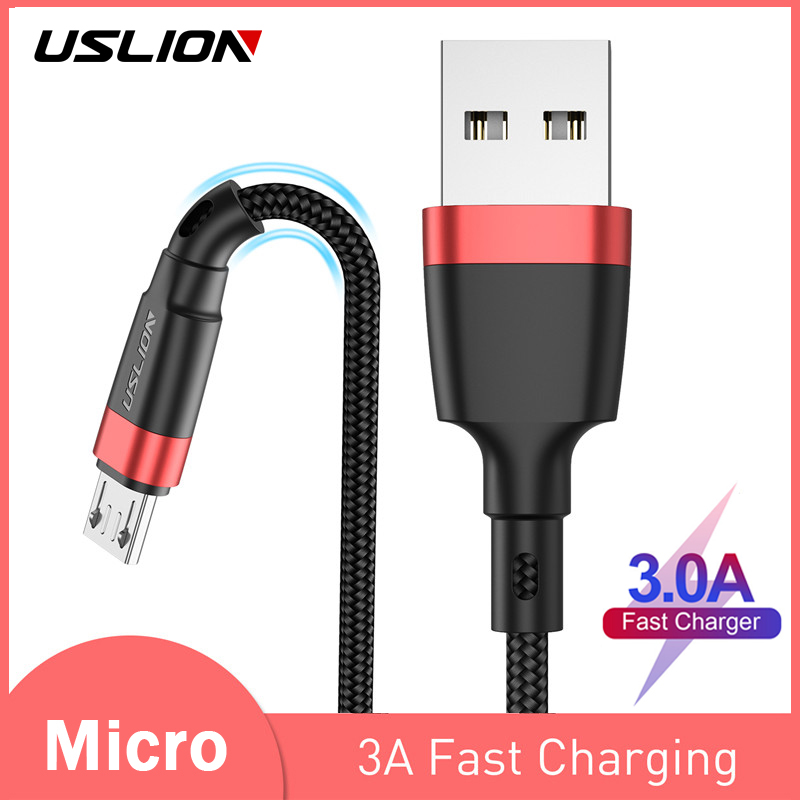USLION <font><b>2m</b></font> 3m <font><b>Micro</b></font> <font><b>USB</b></font> <font><b>Cable</b></font> 3A Fast Charger For Xiaomi Redmi 4X Note 5a Fast Charger Microusb Data <font><b>Cable</b></font> For Samsung S7 Edge J7 image