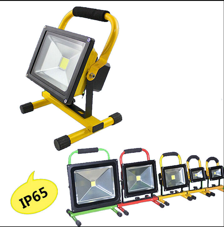 (10pcs/lot) 10W 20W 85-265v Rechargeable LED Floodlight Outdoor battery LED Flood light Lamp Warm white Cool white