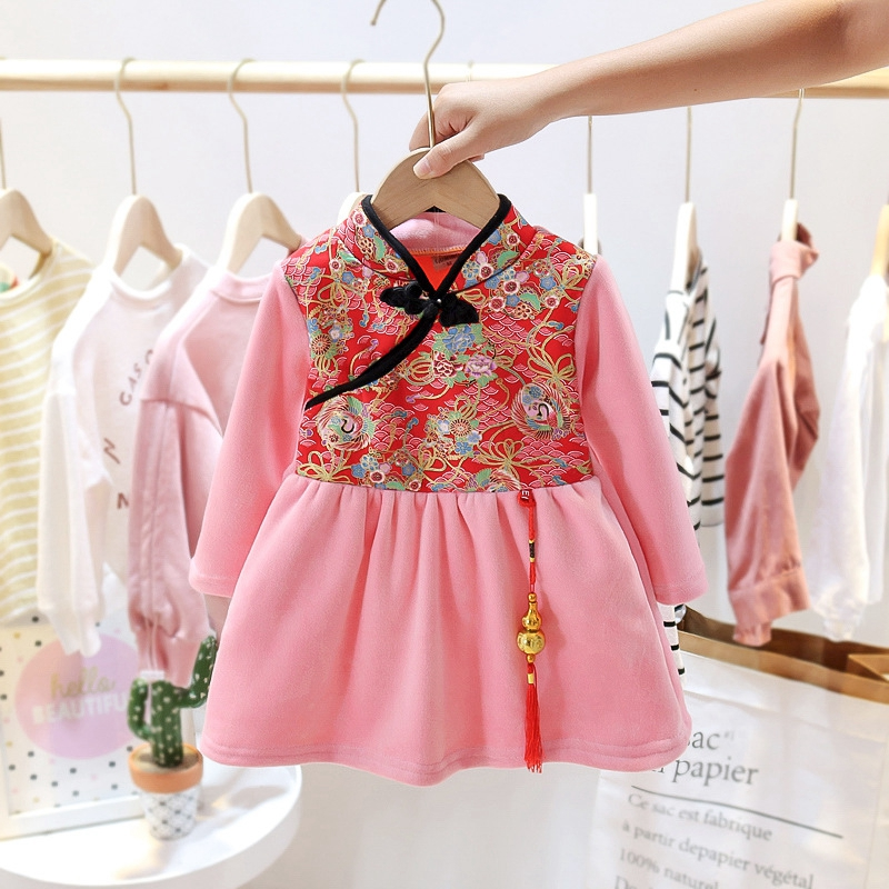 Baby Girls Cheongsam Hanfu Dress Embroidered Kids Tangsuit Children Party Outfits Qipao Kids Wedding Dress Costume Gift 2