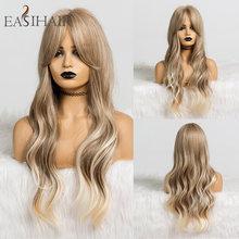 EASIHAIR-Peluca de cabello sintético para dama, cabellera artificial largo ondulado con flequillo, color rubio o marrón degradado, sin pegamento, resistente a alta temperatura
