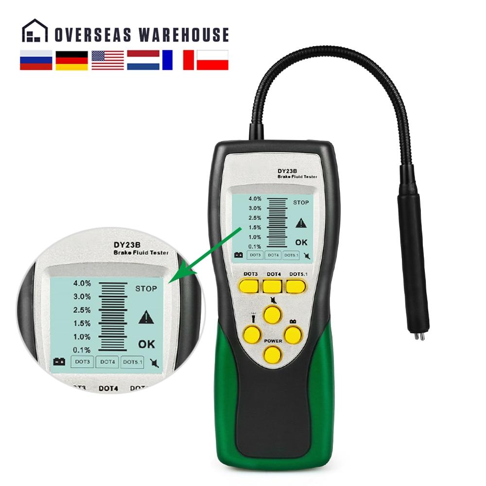 Автомобильный тестер тормозной жидкости DUOYI, проверка масла, датчик гусиной шеи, звук и светильник, двойная сигнализация DY23 DY23B для DOT3 DOT4 DOT5