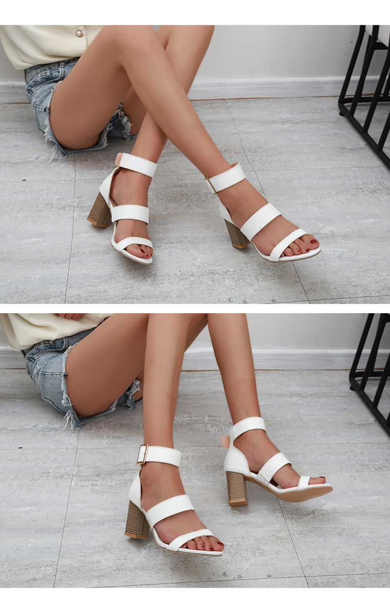 SWQZVT 2020 Summer New Thick High-heel Ankle Buckle Sandals Women Comfort Casual Women Sandals Party Female Shoes (4)