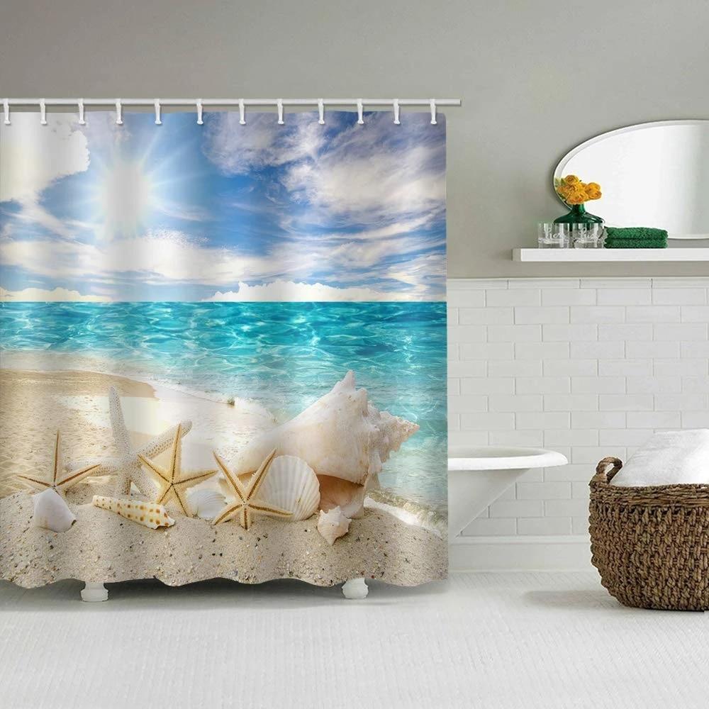 sunny beach shower curtain waterproof polyester starfish shell conch sand clear blue sea water sunlight bathroom decor