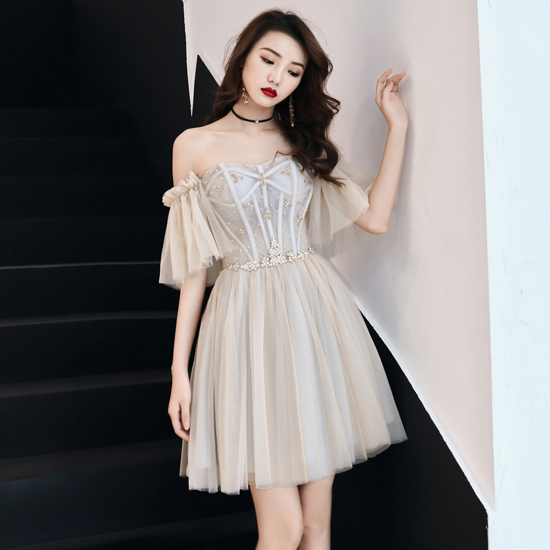 Oversize 3XL Sexy Off Shoulder Evening Party Dress Exquisite Sequins Formal Dress Women Short Prom Gown Mesh Ball Gown Vestidos