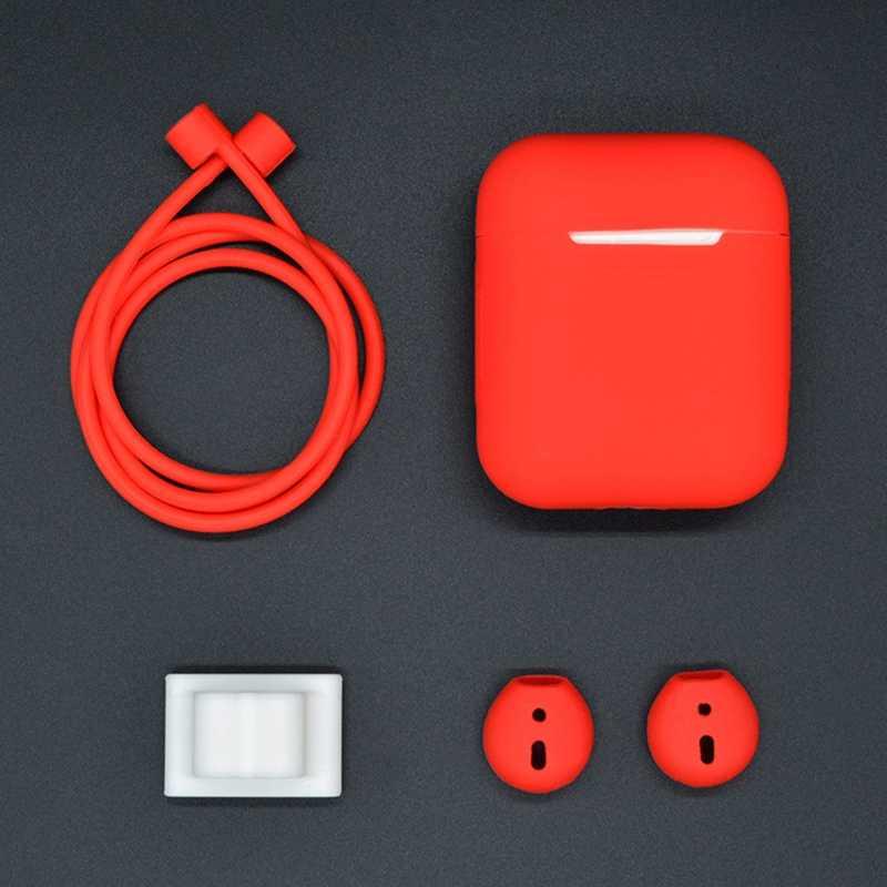 4 في 1 غطاء من السيليكون مجموعة ل Airpods 1 2 كوكه حماية أكياس غطاء حزام (استيك) ساعة حامل لمكافحة خسر حزام ل أبل AirPods 1 2