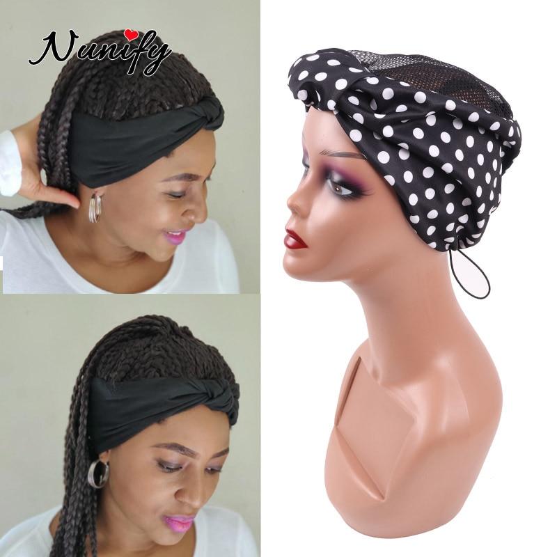Nunify Free Size Headband Wig Cap For Making Crochet Braid Headband Wigs Drawstring Wig Grip Cap With Hair Band Edge Weaving Cap