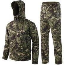 Uniforme militar dos homens conjuntos de jaqueta tática escudo macio camuflagem casacos com capuz mais calças de lã ao ar livre roupas militares quentes