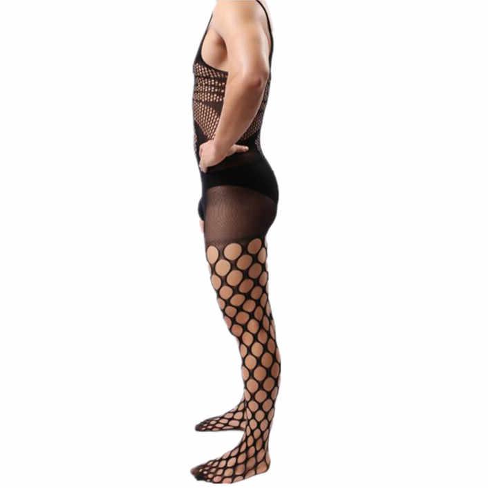 Homme body grande taille homme Lingerie Gentleman exotique vêtements de nuit spécial Sexy sous-vêtements hommes combinaison homme Sissy résille vêtements de nuit