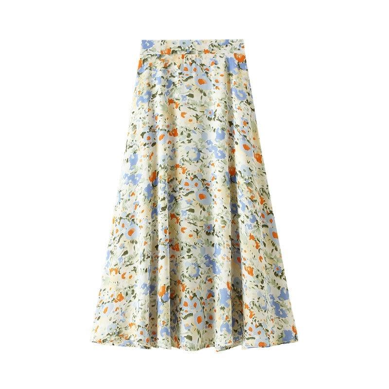 Oil Painting Print Dress Children Korea Fresh Flowers High-Waisted A- Line Dress Long Floral Skirt Summer 8618