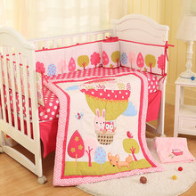 Cotton Baby Bedding Pink Hydrogen Balloon Comforter Sheets Bed Skirt Crib Bumper Boy Girl Baby Bedding Set(China)