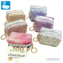 цена на BL 2020 Coin Purse Small Fashion Glitter Wallet Shiny Sequins Women Keychain Bag Mermaid Cute Girls Peacock Unicorn Color Pouch