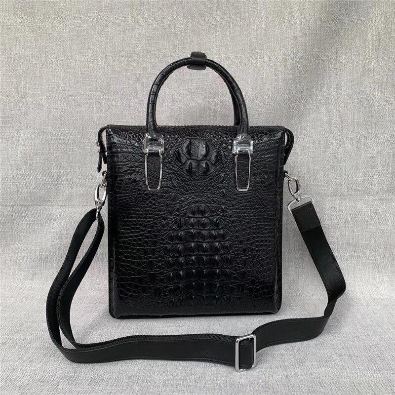 Genuine Crocodile Skin Businessmen Briefcase Authentic Real Alligator Leather Male Working Handbag Long Belt Large Shoulder Bag