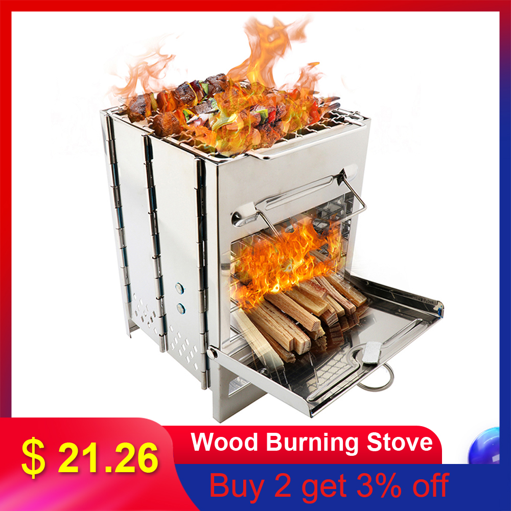 Wood Stove Folding Backpacking Wood Burning Stove Mini BBQ Grill With Carry Bag For Backpacking Hiking Camping Cooking